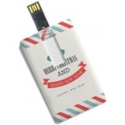 100yellow Credit Card Shape 16GB Merry Christmas & Happy New Year Printed Pen Drive 16 GB Pen Drive(Multicolor)