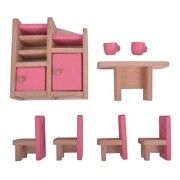 FashLady Wooden Dollhouse Miniature Accessories Pink Dining Room Furniture Set Kids Toys