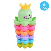 Sakiyr 6 Pcs Stacking Cups Bath Time Stack Cups Splash Bath Tub Toys for Baby