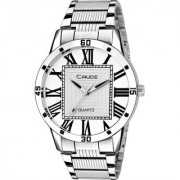 Crude Analog Silver Dial Watch With Stainless Steel Strap For Men's Boy's