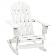 vidaXL Градински люлеещ стол, дърво, бял