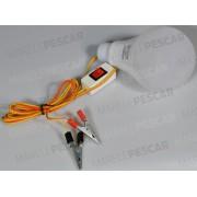 Bec LED 12V Balon Mare + Fir 2m + Clestisori Crocodili + Intrerupator