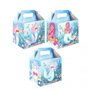 Diamante Crafts 10 Party Boxes -Themed Character Cardboard Lunch Food Loot Treat Box - 22 Designs (10 Mermaid Hb)