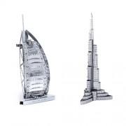 Set of 2 Metal Earth 3D Laser Cut Building Models: Burj Al Arab & Burj Khalifa