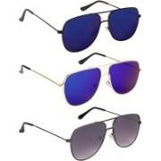 NuVew Retro Square Sunglasses(Blue, Blue, Green, Grey)
