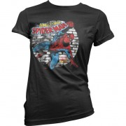 Distressed Spider-Man Girly T-Shirt