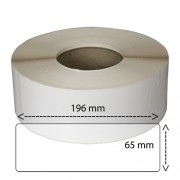 Etiketter på rulle, självhäftande, högblanka för bläck, 65-196 mm, 750 per rulle