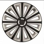 Set capace roti Mega Drive Trend cu inel cromat 15 Inch Argintiu/Negru