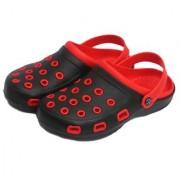 Svaar Stylish Red and Black Men's Crocs