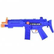 Merkloos Politie speelgoed wapen MP5 blauw met ratel geluid 37 cm