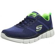 Skechers Men's Equalizer 2.0- True Balance Navy and Lime Nordic Walking Shoes - 8 UK/India (42 EU)(9 US)
