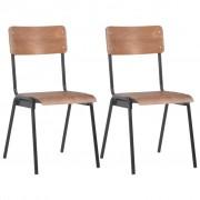 vidaXL Трапезни столове, 2 бр, кафяви, твърд шперплат, стомана
