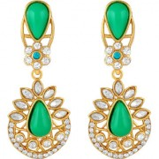 Sukai Jewels Green Pearl Gold Plated Zinc Cz AD Studded Dangle and Drop Earring for Women & Girls [SER213G]