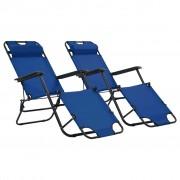 vidaXL Сгъваеми шезлонги с подложки за крака, 2 бр, стомана, сини