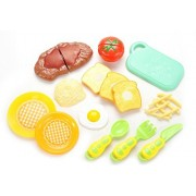 CHIMAERA Kids Ultimate Meal Toy Steak Eggs Pasta and Toast Platter Play Food with Chopping Board Kitchen Set