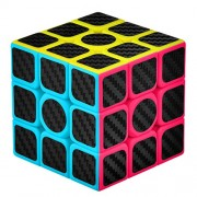 BKDZ 3-D Puzzles Cube 3X3X3 Smooth Speed Magic Carbon Fiber Sticker Puzzle and Easy Turning, Super Durable Vivid Colors Brain Training Game Gift