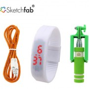 Sketchfab Combo of Aux cable LED Watch Silicon With Mini Selfie Stick - Assorted Color