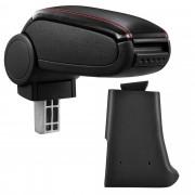 Středová loketní opěrka - vhodná pro: Golf 3, Volkswagen Vento - umělá kůže - Černá s červenými švy