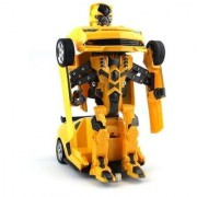 DY Robot Races Car Toy (Battery Operated) 2 in 1 Transformers Bumble Bee with Bright Lights and Music