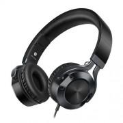 I9 Sztereó fejhallgató - 3,5mm jack csatlakozó, mikrofon, felvevőgomb - FEKETE