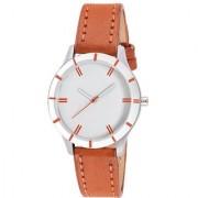 Code Yellow Women's Brown Round White Dial Leather Strap Analog Watch with 6 Months Warranty
