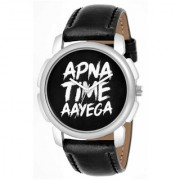 Apna Time Aayega New Genration Black Dial Leather Analog Watch For Boys And Men