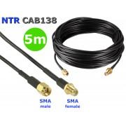 NTR CAB138-5M SMA dugó - SMA aljzat WiFi/3G/LTE/5G antenna hosszabbító kábel (RG174 50ohm) 5m