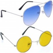 just style Aviator, Round Sunglasses(Yellow, Blue)