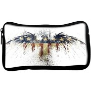Snoogg Eagle with american flagPoly Canvas Student Pen Pencil Case Coin Purse Utility Pouch Cosmetic Makeup Bag
