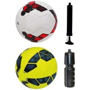 Combo of Premier League Red/Purple/White + Premier League Yellow/Blue Football (Size-5) with Air Pump & Sipper