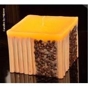 kaarsen: Koffie bamboe kaars GEEL