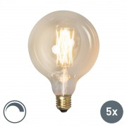 Calex Set di 5 lampadine a LED a filamento G125 E27 4W dimmerabile