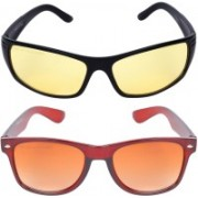 Criba Wayfarer, Retro Square Sunglasses(Golden, Yellow)
