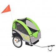 vidaXL Remorque de vélo pour enfants Gris et vert 30 kg