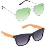 Hrinkar Aviator Sunglasses(Green, Grey)