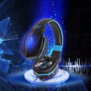 Audífonos Gamer, G4000 Atado Con Alambre Auricular Del Juego Del Receptor De Cabeza Del Juego De La Cabeza Del USB Del Tamaño Completo (negro Azul)