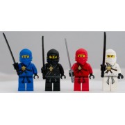 Lego Ninjago Set of 4 Ninjago Minifigures - Jay Kai Cole Zane (Black and Silver)