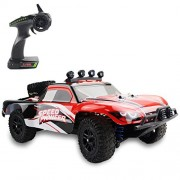 Fistone 1:18 Rc Car RTR High Speed Racing Monster Truck 4Wd Rock Crawler Off Road Dune Buggy Full Scale 2.4G Remote Control Hobby Toys for Kids & Adults with Led Lights (Red)