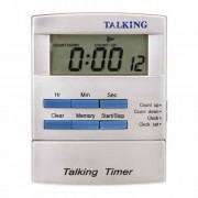 Cronometru digital de bucătărie cu voce în limba engleză şi ceas de masă