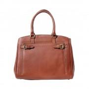Raffinata borsa tote in pelle liscia marrone made in italy produzione di pelletteria toscana