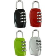 DOCOSS Set Of 4-4 Digit Brass Small Bag Locks Travel Luggage Resettable Password Combination Safety Lock(Multicolor)