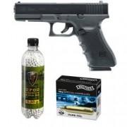 Set pistol airsoft 2 jouli + 10 capsule CO2 + flacon 2700 buc bile 0.20 g Umarex Glock 22 Gen4 calibru 6 mm