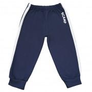 Pantaloni trening cu elastic in talie, albastru inchis cu dungi albe