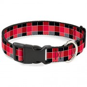 "Buckle Down -Down Plastic Clip Collar Checker Black/Pink 1/2"" Wide Fits 9-15"" Neck Large, Checker Mosaic Red, 1"" Wide Fits 15-26"" Neck Large"
