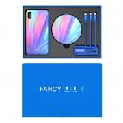 Set cadou Nillkin, iPhone X, Cablu de date 3 in 1, Incarcator wireless, Husa, Albastru