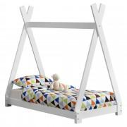 [en.casa]® Gyerekágy 70 x 140 cm fenyőfa gyermek kiságy indián sátor kialakítás matt fehér