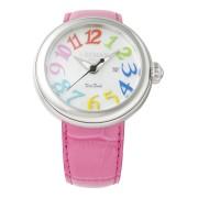 【68%OFF】ラウンドウォッチ デイト表示 ウィメンズ ケース:パールホワイト ベルト:フクシア ファッション > 腕時計~~レディース 腕時計