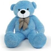 Multi Soft Fabric India Kid's 4 Feet Jumbo Teddy Bear Stuffed Soft Push Toy Good Quality Fabrics (Blue)