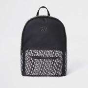 river island Boys Black RI monogram jacquard backpack (One Size)