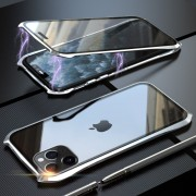 LUPHIE Bat Style Magnetic Installation Metal Frame + Tempered Glass Alll-side Protective Case for iPhone 11 Pro Max 6.5 inch - Silver